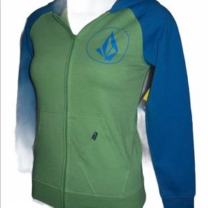 VOLCOM blue and green colour block full zip hoodie